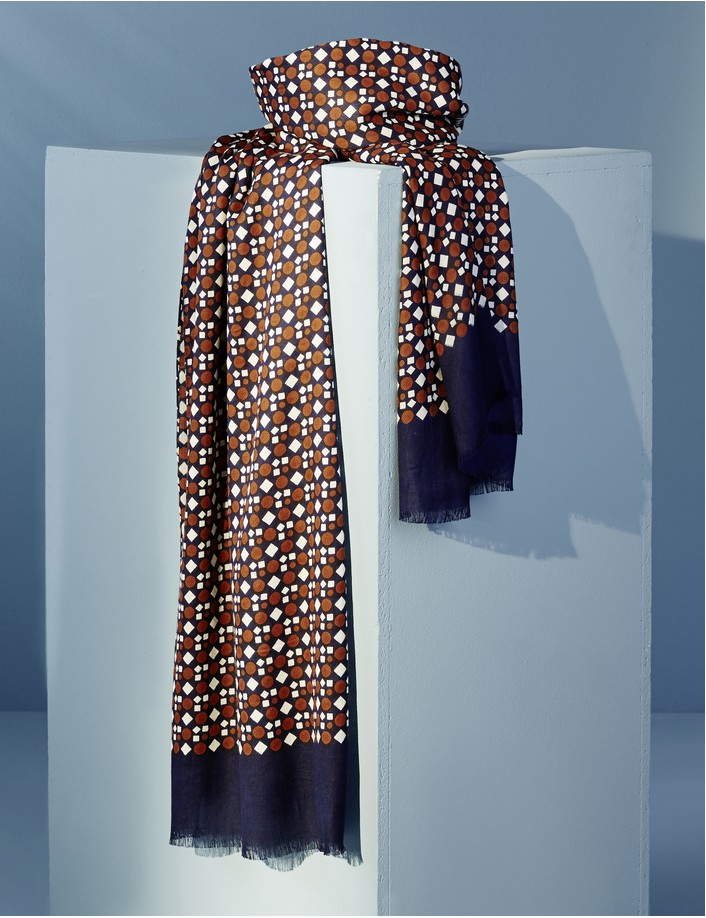 chèche écharpe homme bleu marine marron, micro motif