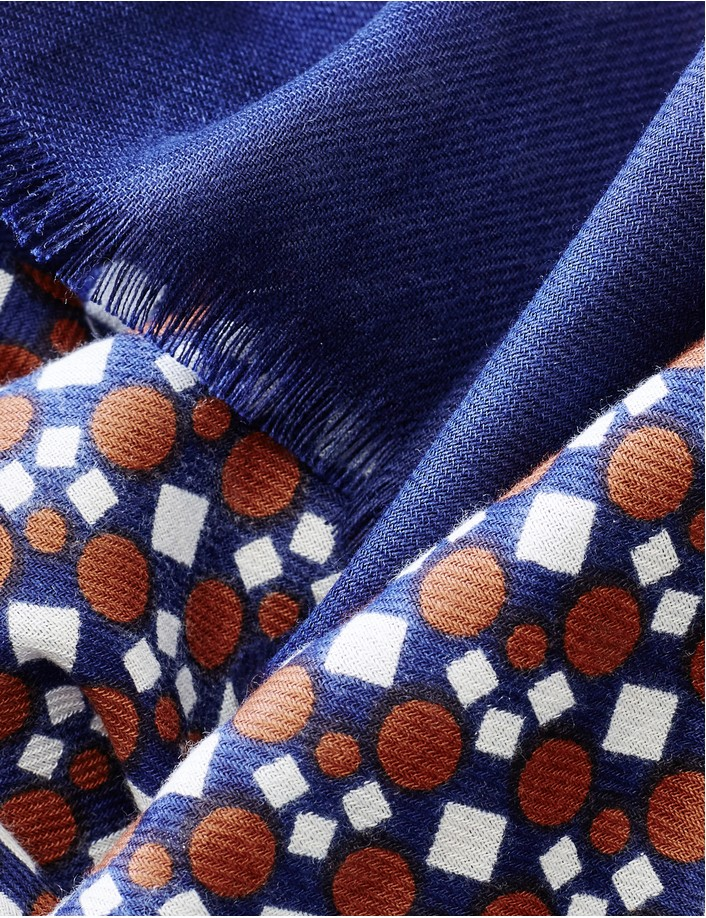 foulard homme coton bio, bleu  marron, echarpe homme de marque