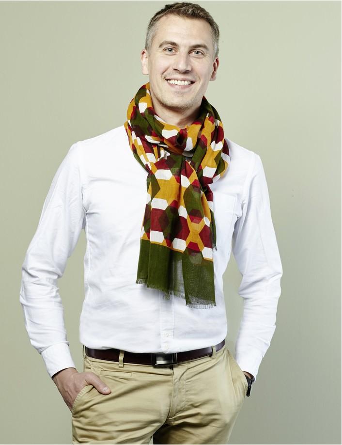 Foulard homme, multicolore et graphique, accessoire homme bio