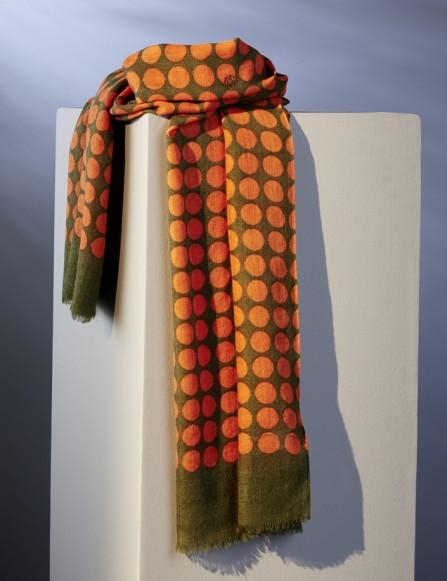 Echarpe homme orange vert