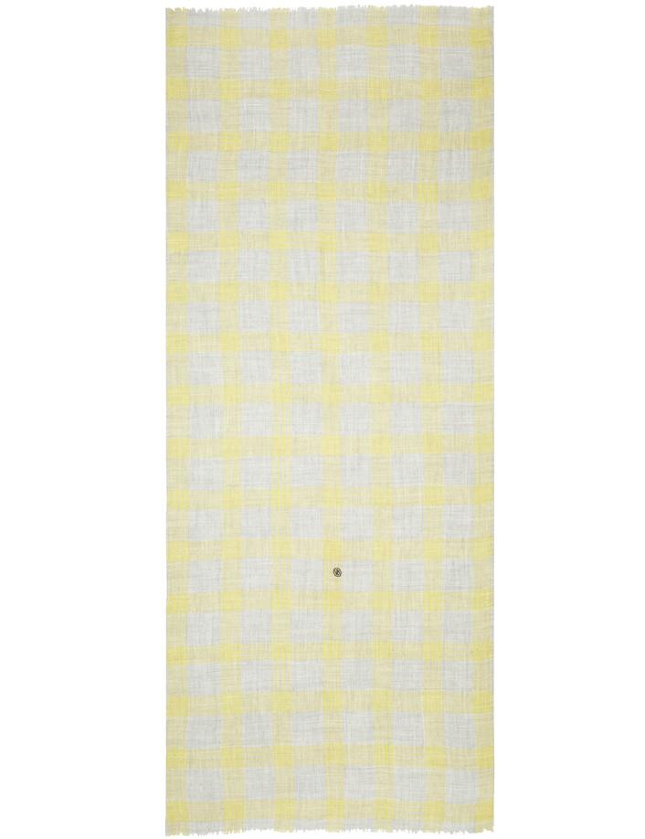 écharpe homme à carreaux gris jaune