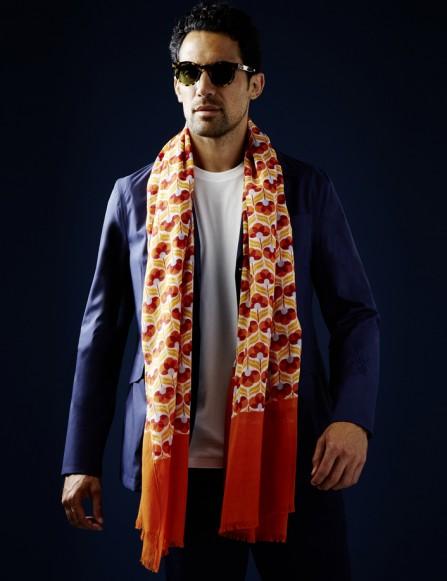 Chèche homme orange rouge
