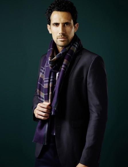 écharpe homme carreaux bleu vert violet