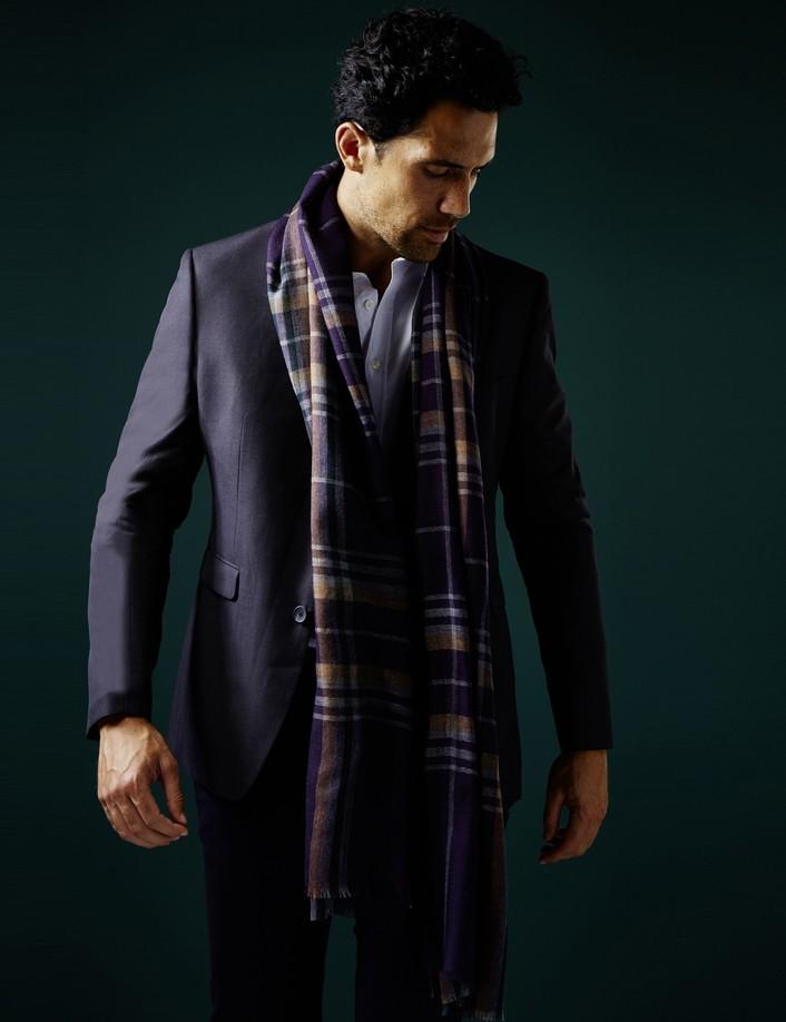 écharpe laine homme violet bleu
