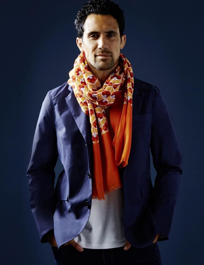 Foulard homme orange rouge