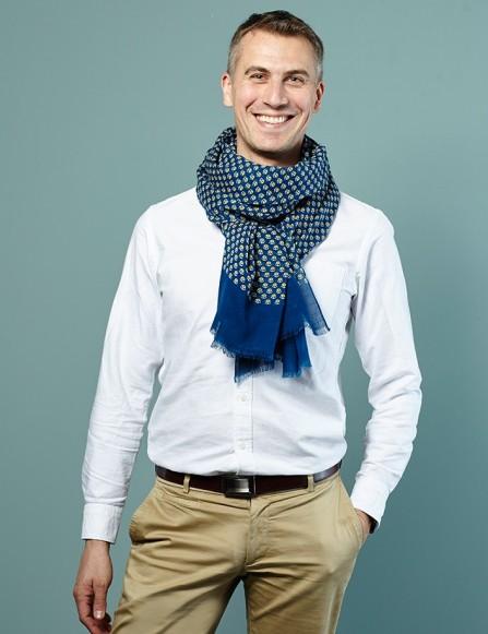 Chèche homme bleu, accessoire homme chic, cadeau homme personnalisé