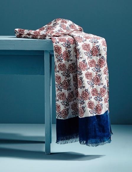 Chèche homme en lin, bleu rouge blanc, imprimé fleurs, cadeau parfait