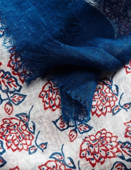 Foulard homme bleu rouge, en lin