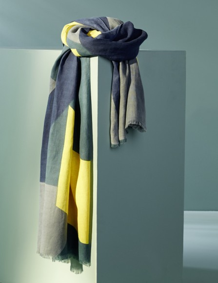 Foulard homme bleu gris vert jaune, coton bio