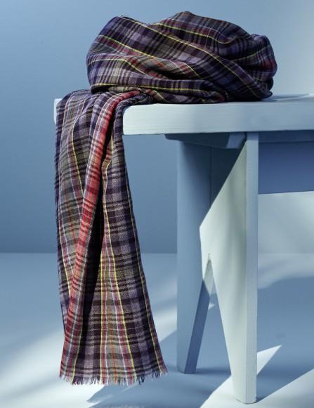 Chèche à carreaux, bleu rouge gris en laine