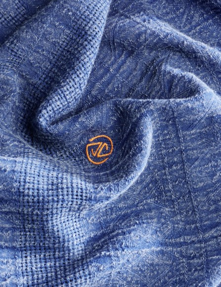 Foulard homme bleu coton bio, doux, chèche désert