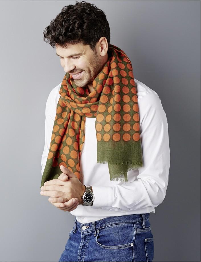 Chèche orange homme, esprit vintage, chèche en laine à pois