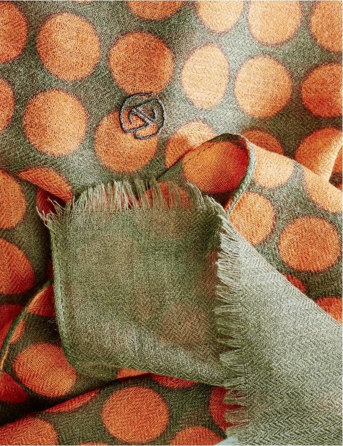 Écharpe à pois orange vert en laine